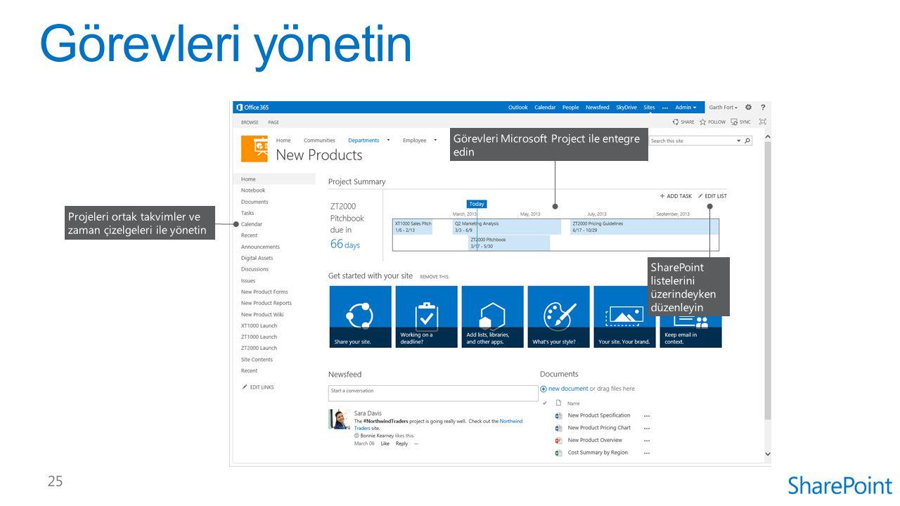 Görevleri yönetin Görevleri Microsoft Project ile entegre edin