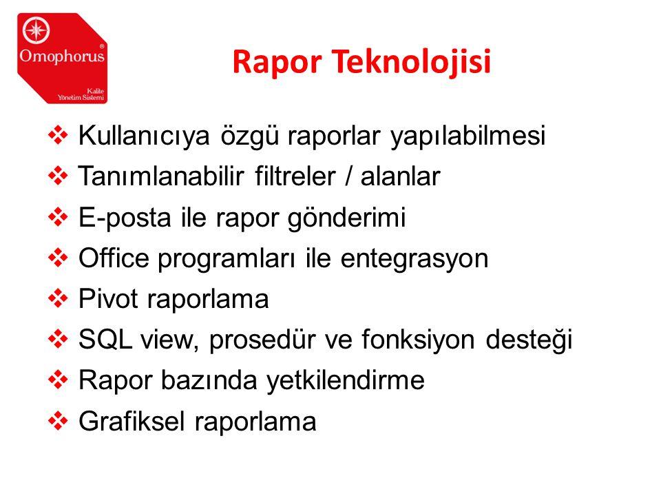Rapor Teknolojisi Kullanıcıya özgü raporlar yapılabilmesi
