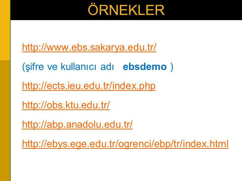 ÖRNEKLER http://www.ebs.sakarya.edu.tr/