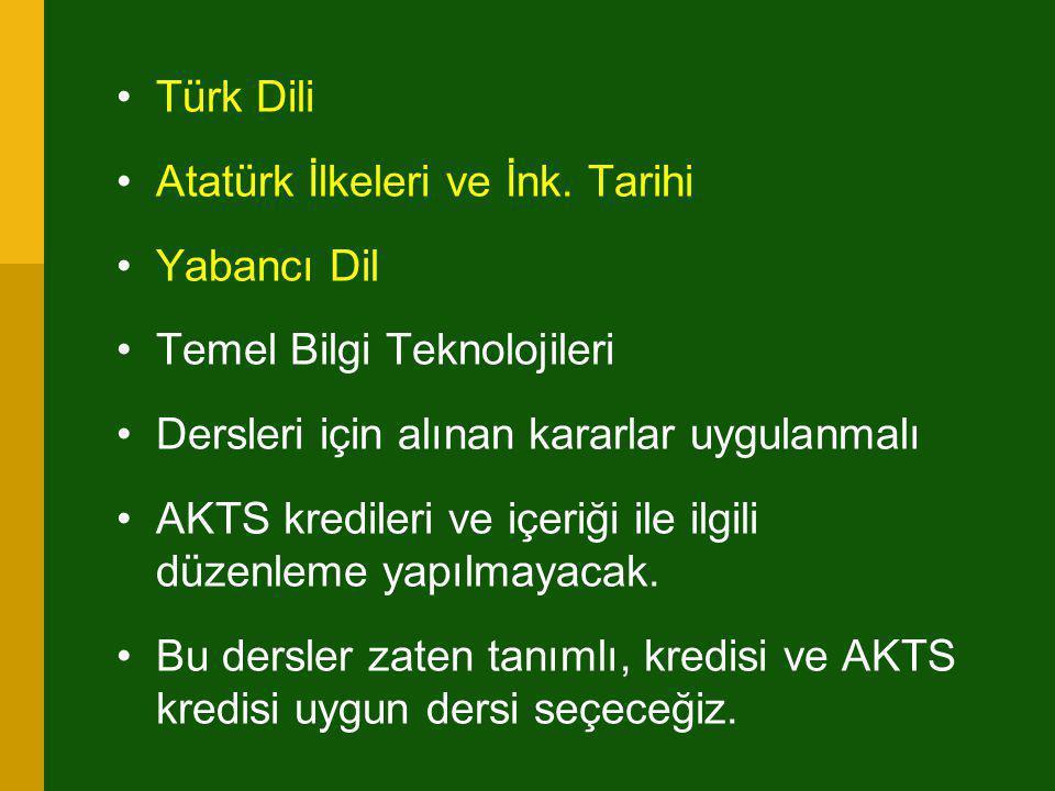 Türk Dili Atatürk İlkeleri ve İnk. Tarihi. Yabancı Dil. Temel Bilgi Teknolojileri. Dersleri için alınan kararlar uygulanmalı.