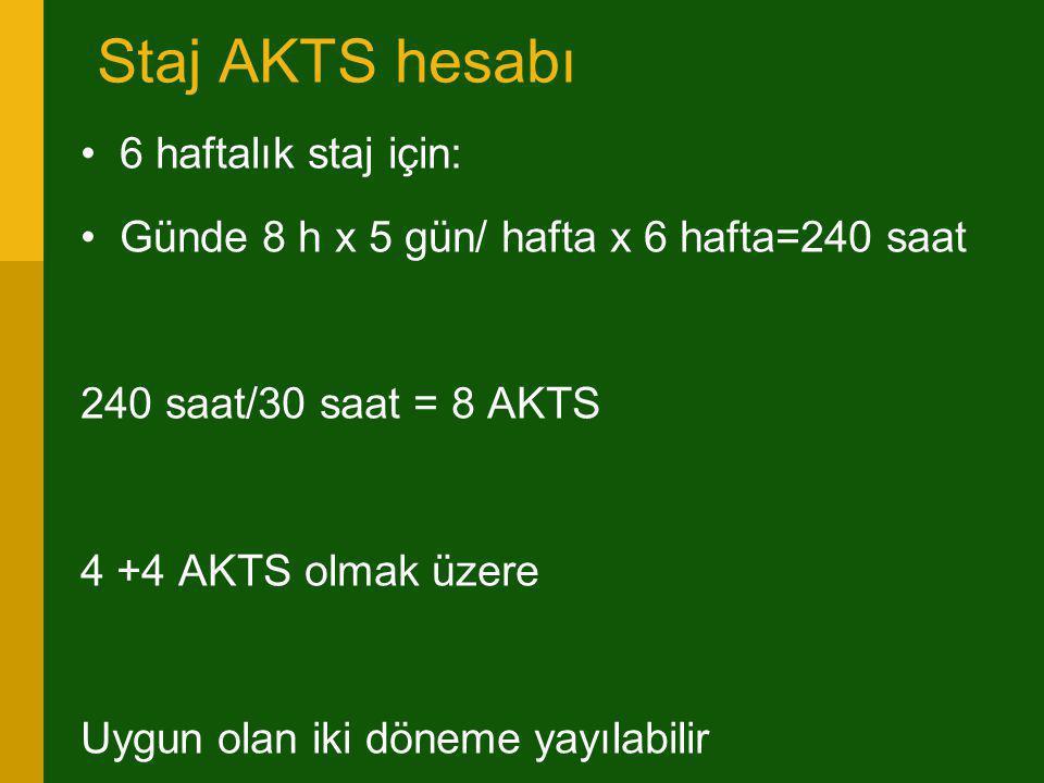 Staj AKTS hesabı 6 haftalık staj için: