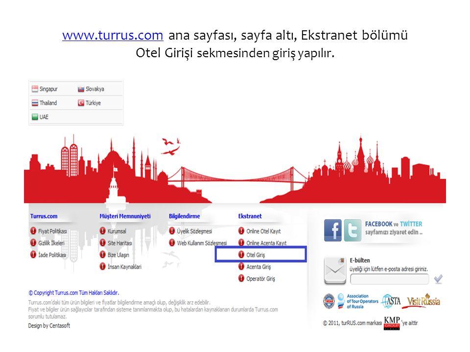 www.turrus.com ana sayfası, sayfa altı, Ekstranet bölümü Otel Girişi sekmesinden giriş yapılır.