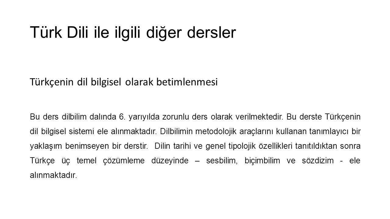 Türk Dili ile ilgili diğer dersler