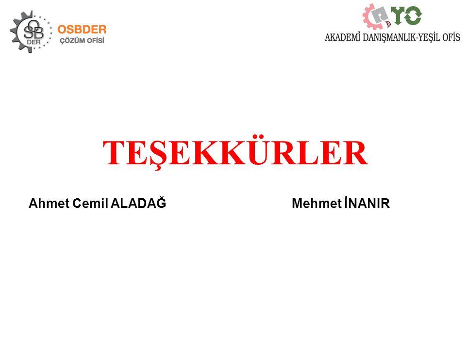 TEŞEKKÜRLER Ahmet Cemil ALADAĞ Mehmet İNANIR