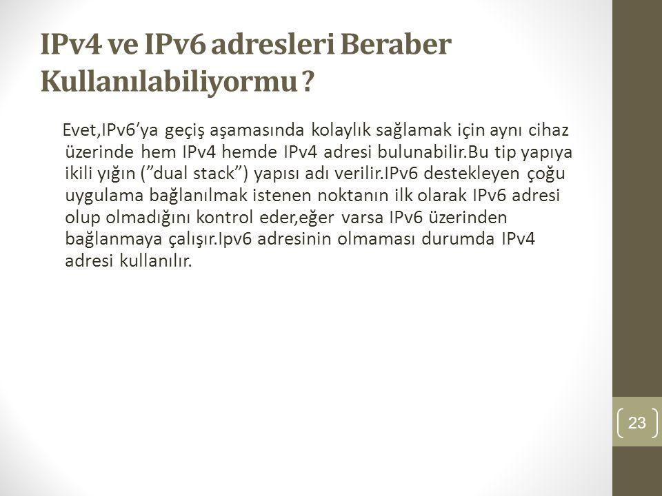 IPv4 ve IPv6 adresleri Beraber Kullanılabiliyormu