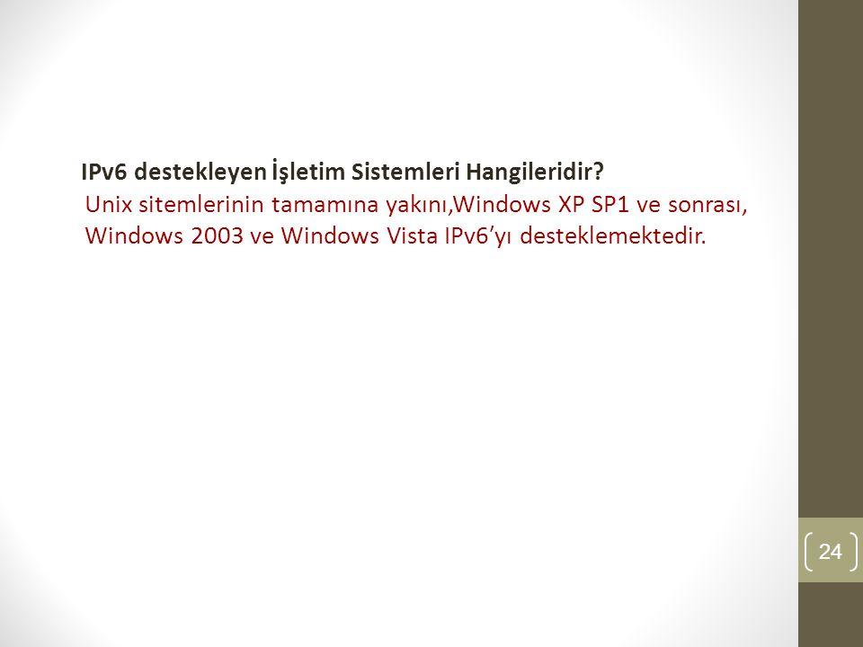 IPv6 destekleyen İşletim Sistemleri Hangileridir