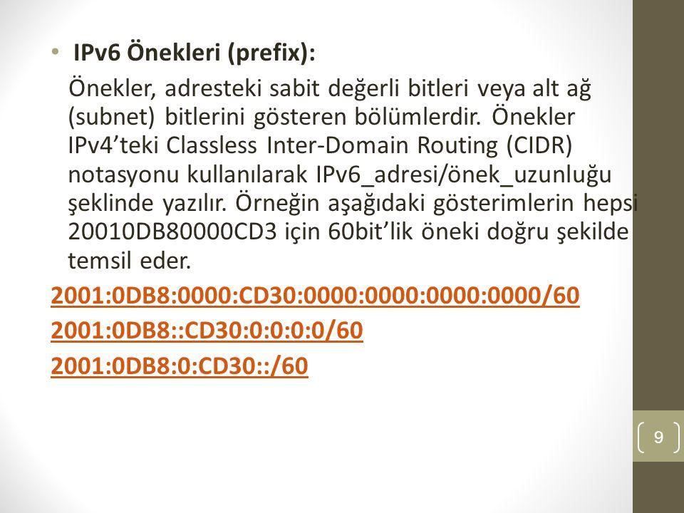 IPv6 Önekleri (prefix):