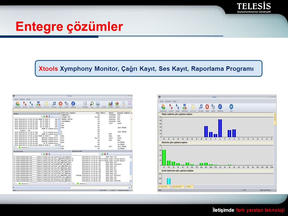 Entegre çözümler Xtools Xymphony Monitor, Çağrı Kayıt, Ses Kayıt, Raporlama Programı.