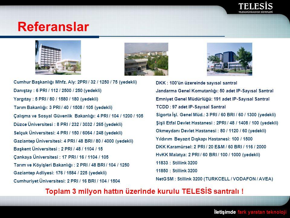 Toplam 3 milyon hattın üzerinde kurulu TELESİS santralı !