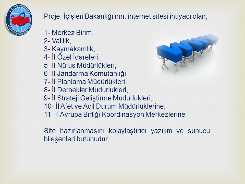 Proje, İçişleri Bakanlığı'nın, internet sitesi ihtiyacı olan;