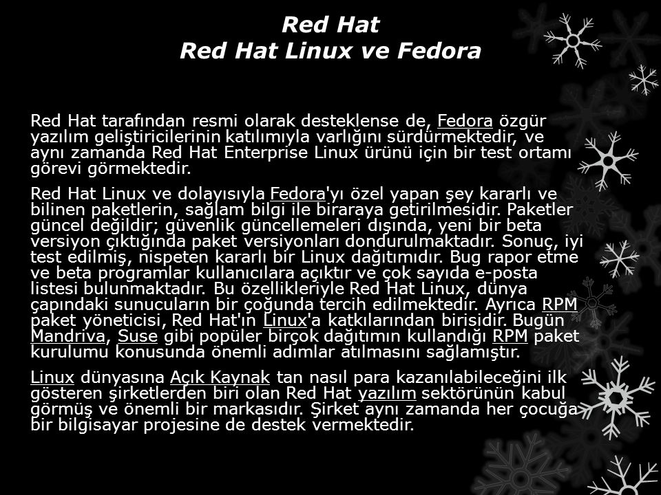 Red Hat Red Hat Linux ve Fedora