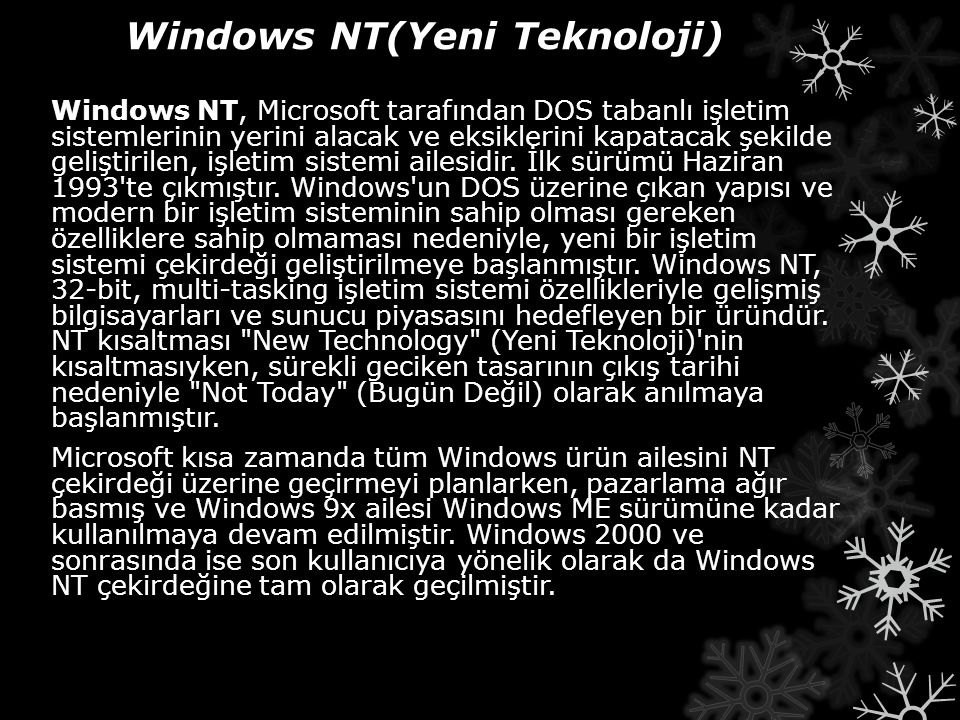 Windows NT(Yeni Teknoloji)