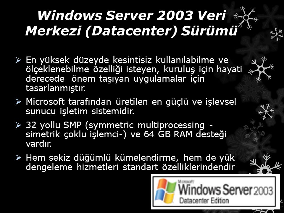 Windows Server 2003 Veri Merkezi (Datacenter) Sürümü