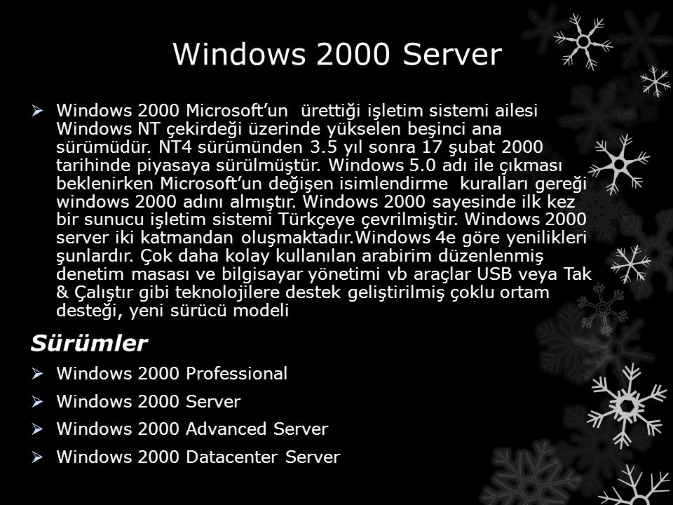 Windows 2000 Server Sürümler