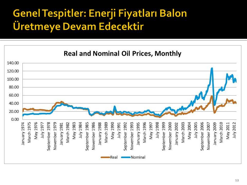 Genel Tespitler: Enerji Fiyatları Balon Üretmeye Devam Edecektir