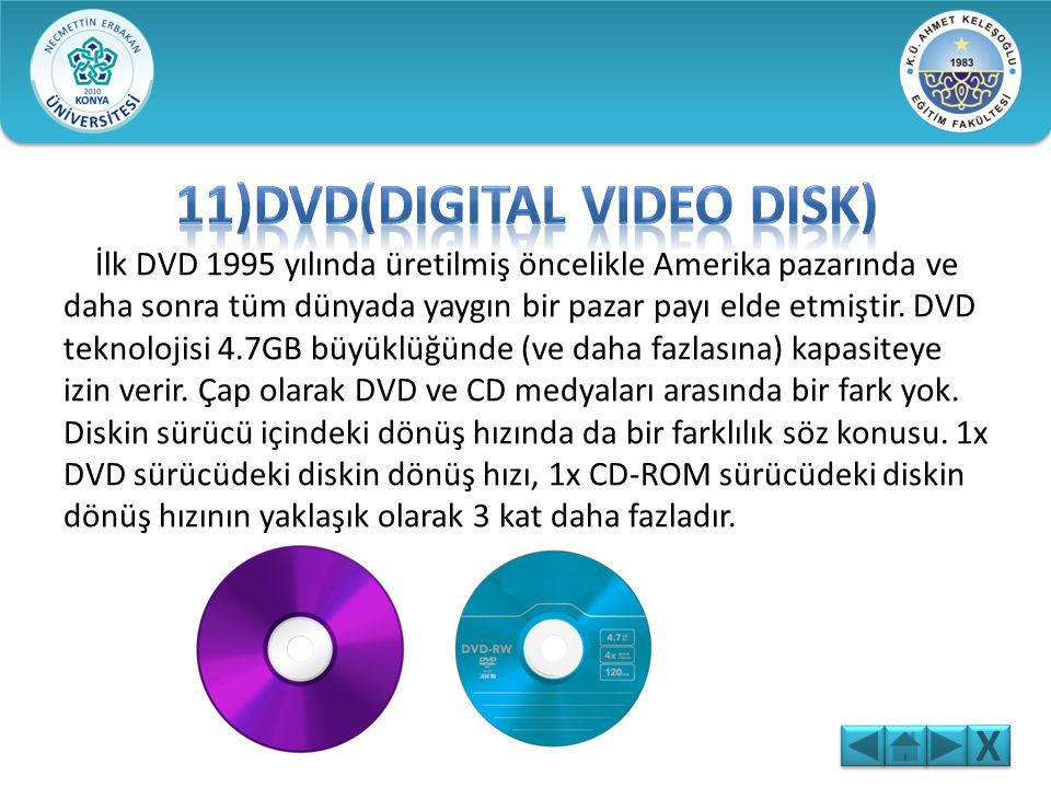 11)DVD(Digital Video Disk)