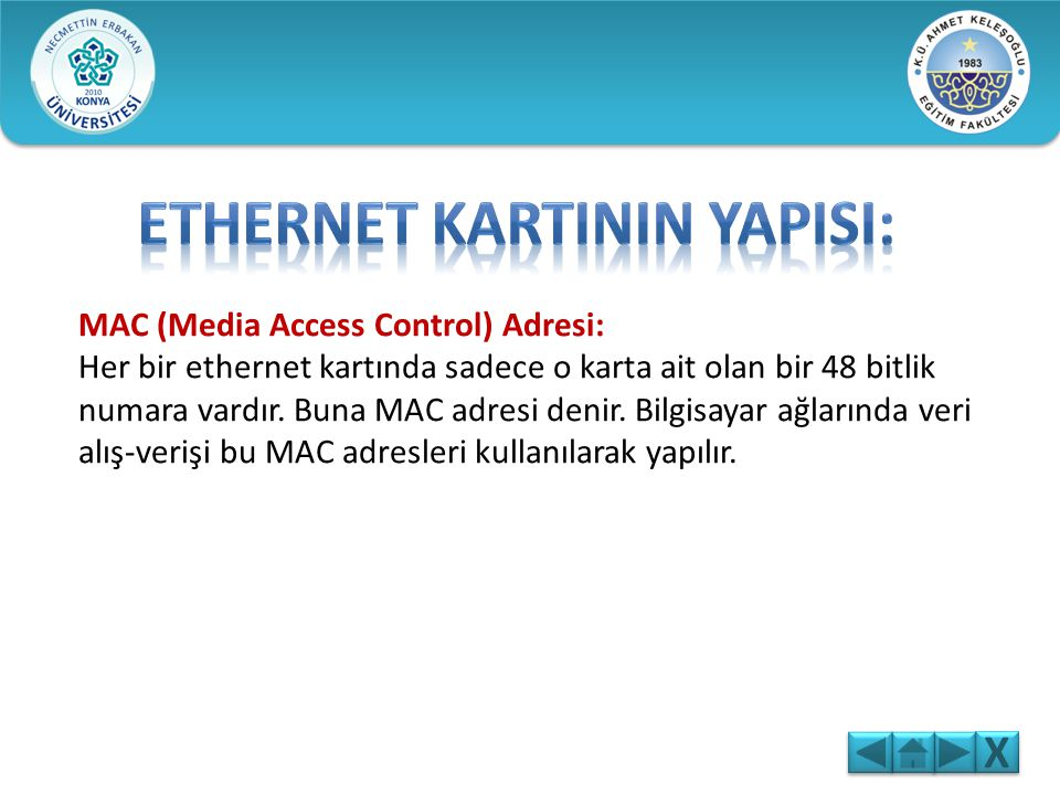 ETHERNET KARTININ YAPISI: