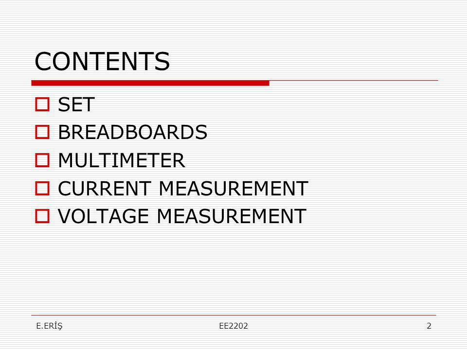 CONTENTS SET BREADBOARDS MULTIMETER CURRENT MEASUREMENT