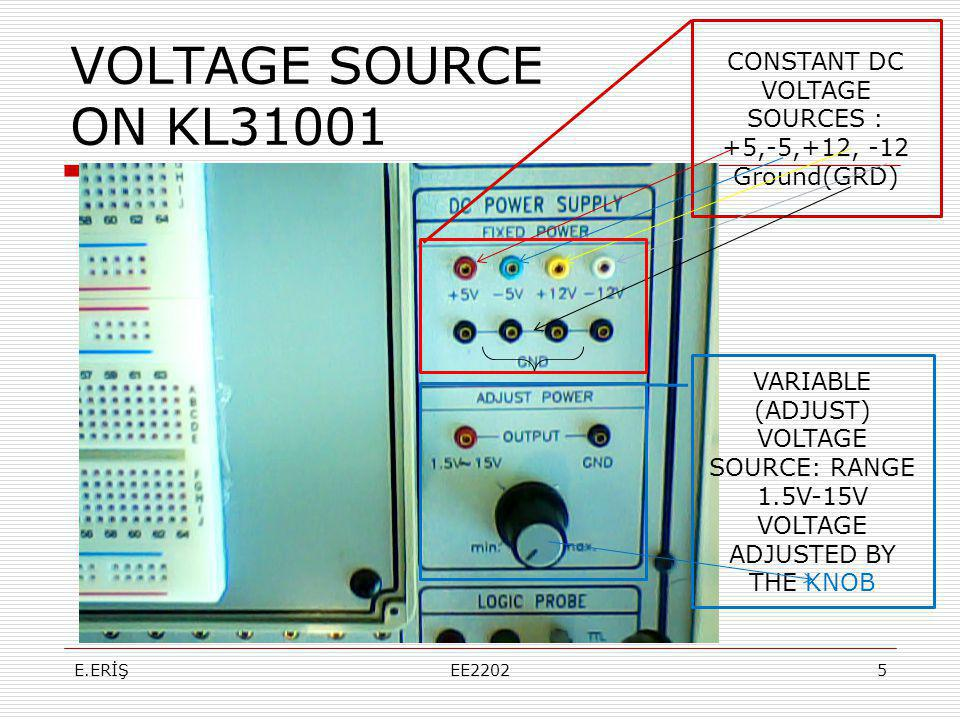 VOLTAGE SOURCE ON KL31001 CONSTANT DC VOLTAGE SOURCES :