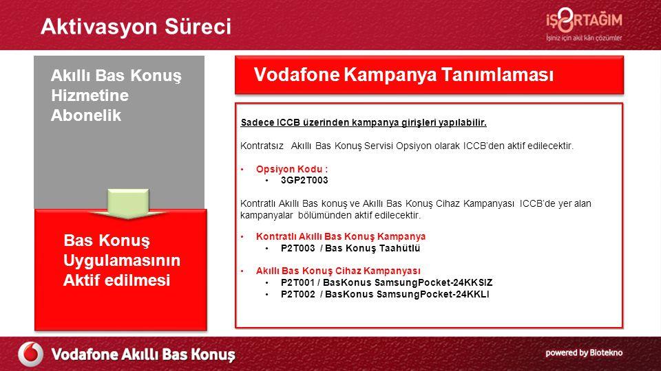 Aktivasyon Süreci Ön Başvuru Süreci Vodafone Kampanya Tanımlaması