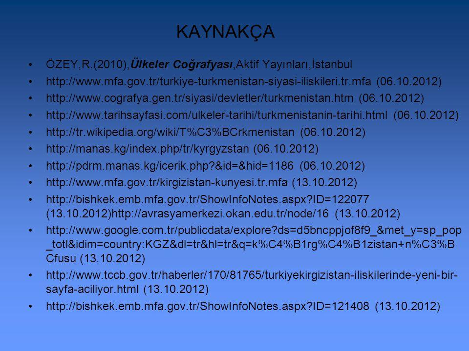 KAYNAKÇA ÖZEY,R.(2010),Ülkeler Coğrafyası,Aktif Yayınları,İstanbul