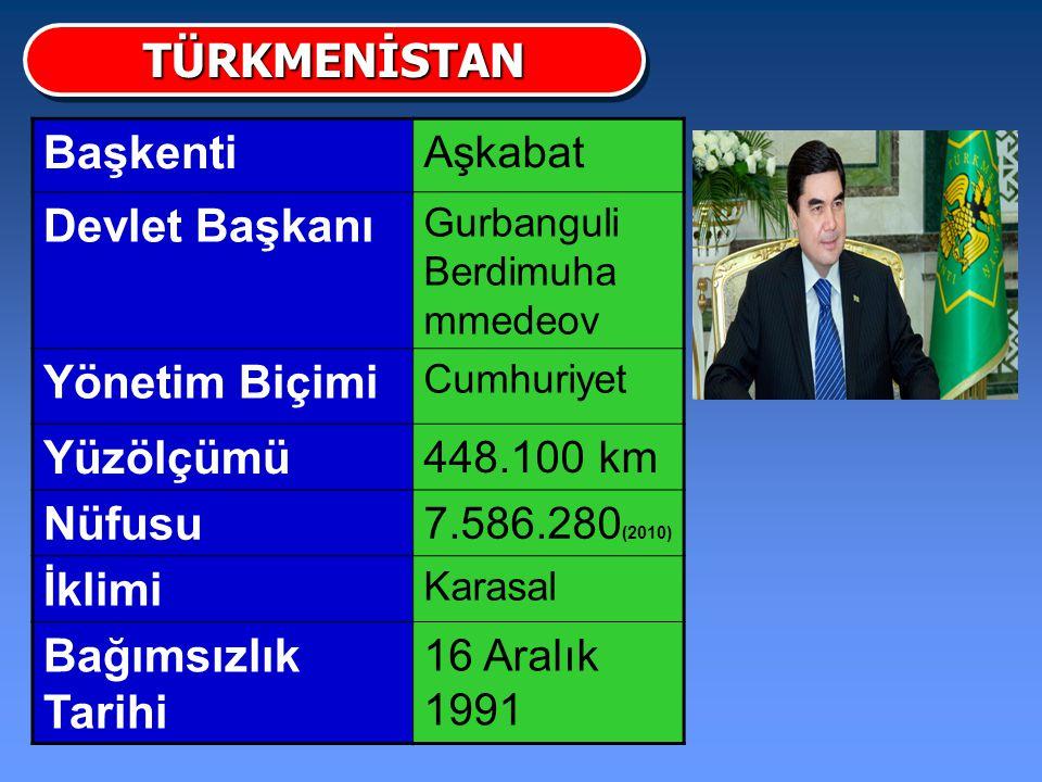 TÜRKMENİSTAN Başkenti Devlet Başkanı Yönetim Biçimi Yüzölçümü Nüfusu