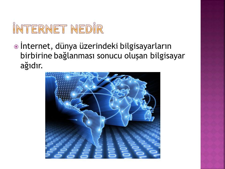 İNTERNET NEDİR İnternet, dünya üzerindeki bilgisayarların birbirine bağlanması sonucu oluşan bilgisayar ağıdır.