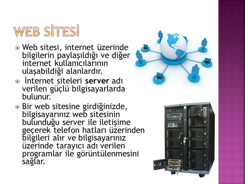 WEB SİTESİ Web sitesi, internet üzerinde bilgilerin paylaşıldığı ve diğer internet kullanıcılarının ulaşabildiği alanlardır.