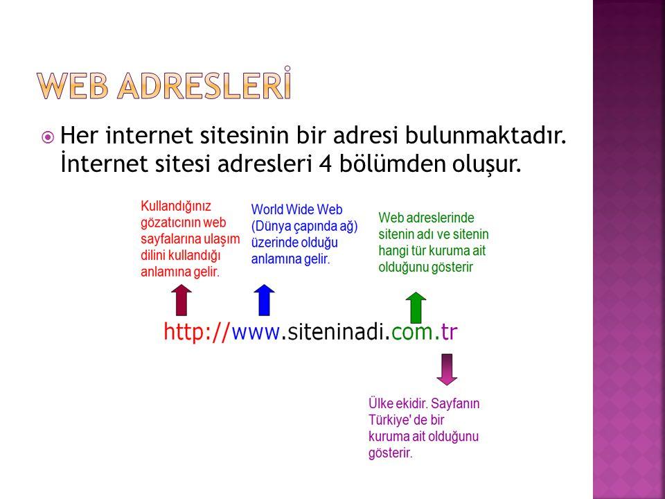 WEB ADRESLERİ Her internet sitesinin bir adresi bulunmaktadır.