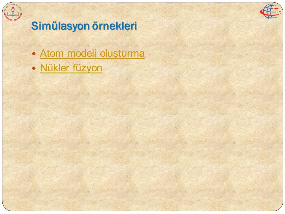 Simülasyon örnekleri Atom modeli oluşturma Nükler füzyon
