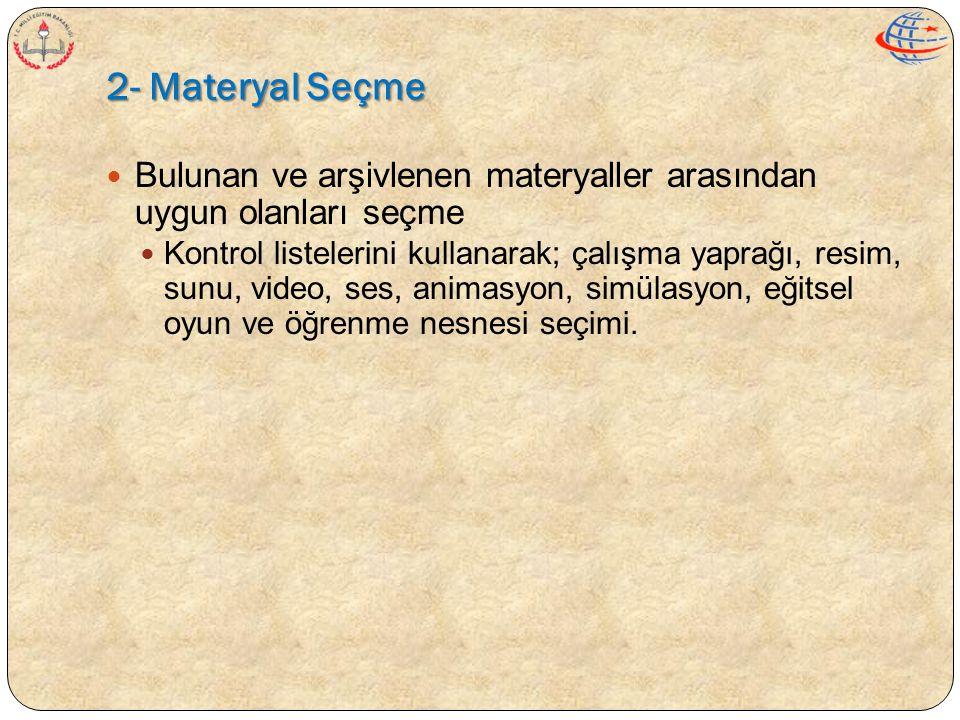 2- Materyal Seçme Bulunan ve arşivlenen materyaller arasından uygun olanları seçme.