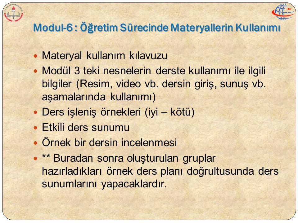 Modul-6 : Öğretim Sürecinde Materyallerin Kullanımı