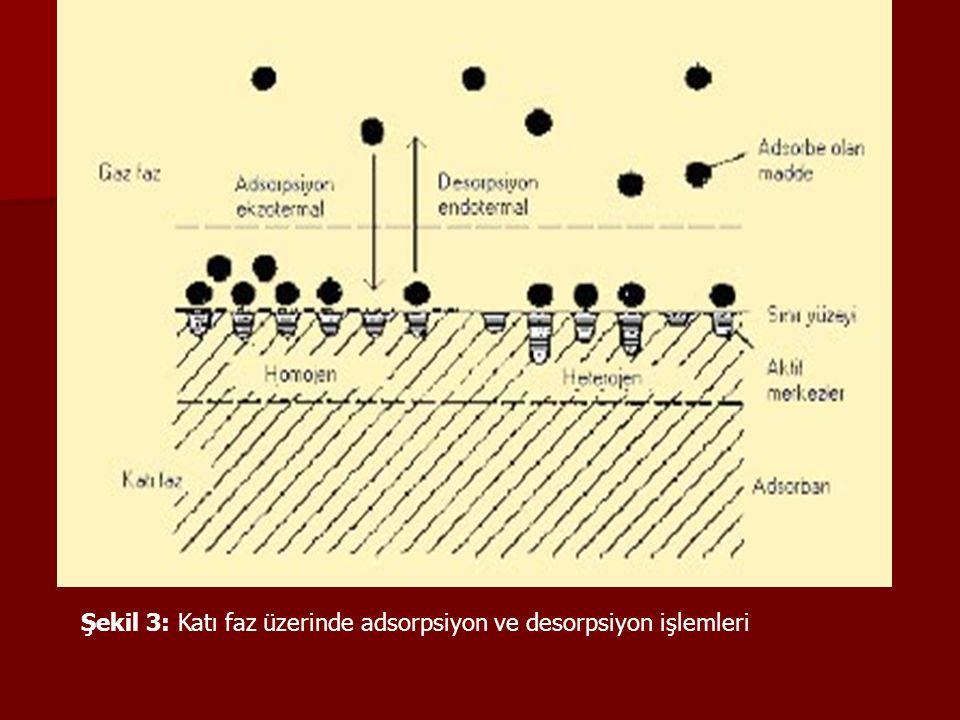 Şekil 3: Katı faz üzerinde adsorpsiyon ve desorpsiyon işlemleri