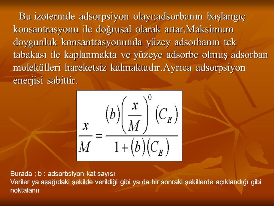 Bu izotermde adsorpsiyon olayı;adsorbanın başlangıç konsantrasyonu ile doğrusal olarak artar.Maksimum doygunluk konsantrasyonunda yüzey adsorbanın tek tabakası ile kaplanmakta ve yüzeye adsorbe olmuş adsorban molekülleri hareketsiz kalmaktadır.Ayrıca adsorpsiyon enerjisi sabittir.