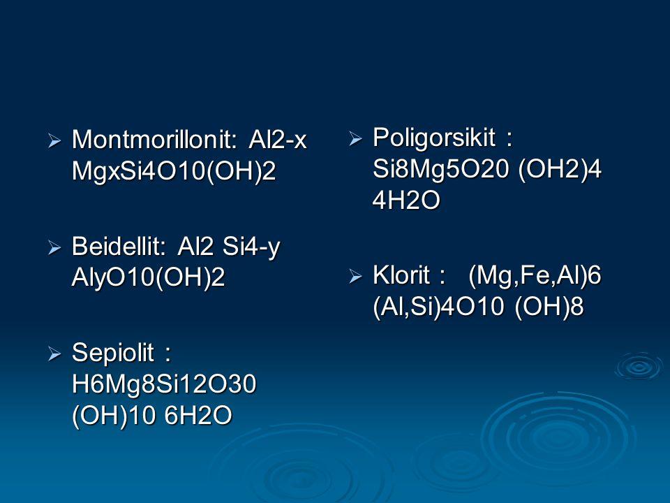 Montmorillonit: Al2-x MgxSi4O10(OH)2