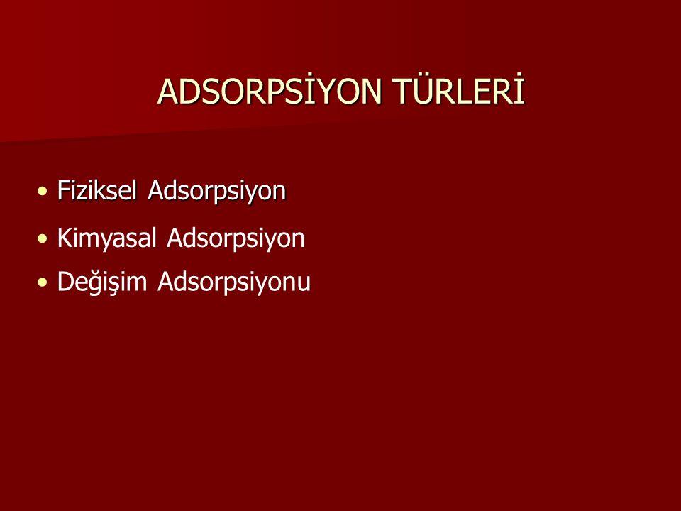 ADSORPSİYON TÜRLERİ Fiziksel Adsorpsiyon Kimyasal Adsorpsiyon