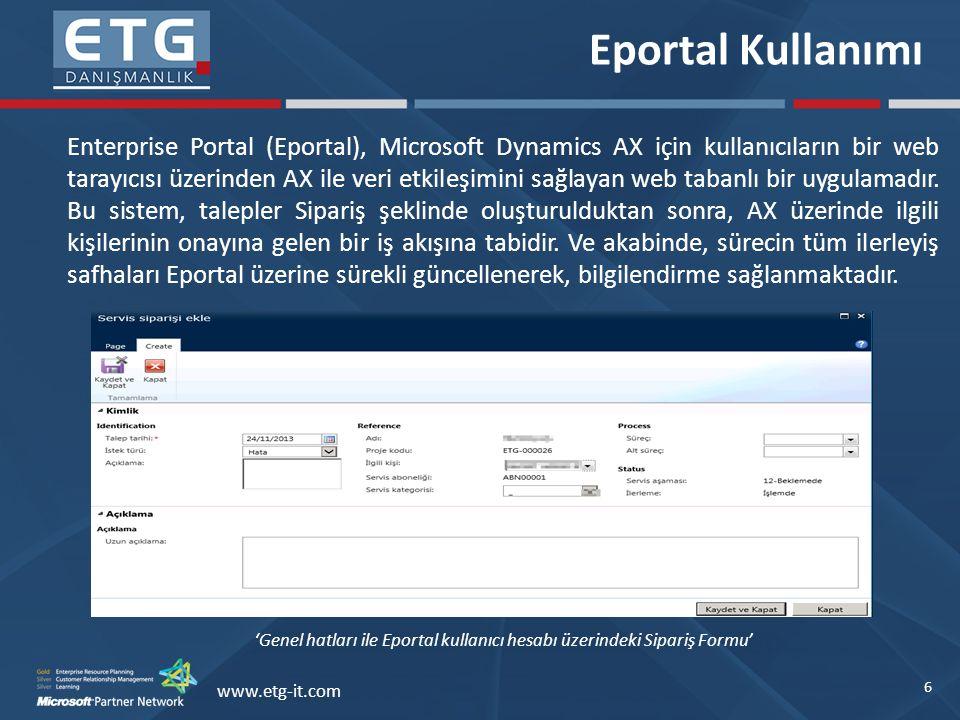 'Genel hatları ile Eportal kullanıcı hesabı üzerindeki Sipariş Formu'