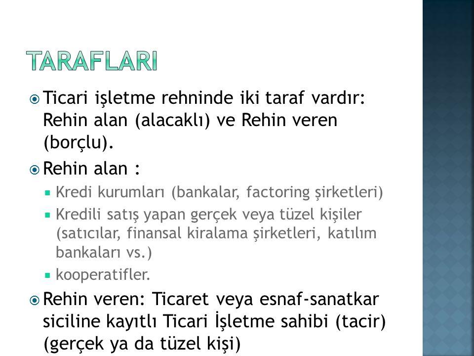 TARAFLARI Ticari işletme rehninde iki taraf vardır: Rehin alan (alacaklı) ve Rehin veren (borçlu).
