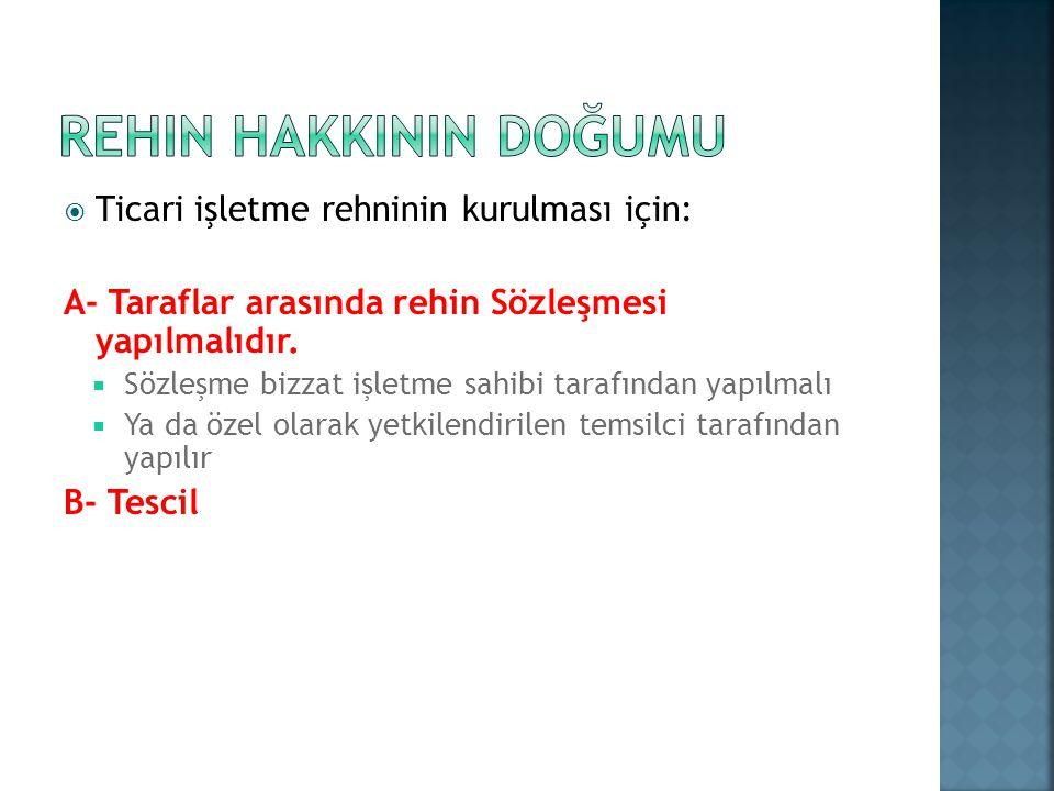 REHIN HAKKININ DOĞUMU Ticari işletme rehninin kurulması için: