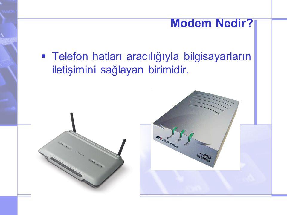 Modem Nedir Telefon hatları aracılığıyla bilgisayarların iletişimini sağlayan birimidir.