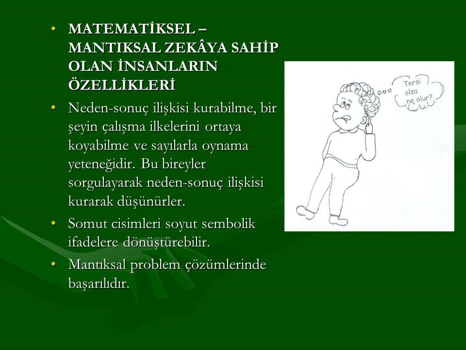 MATEMATİKSEL – MANTIKSAL ZEKÂYA SAHİP OLAN İNSANLARIN ÖZELLİKLERİ