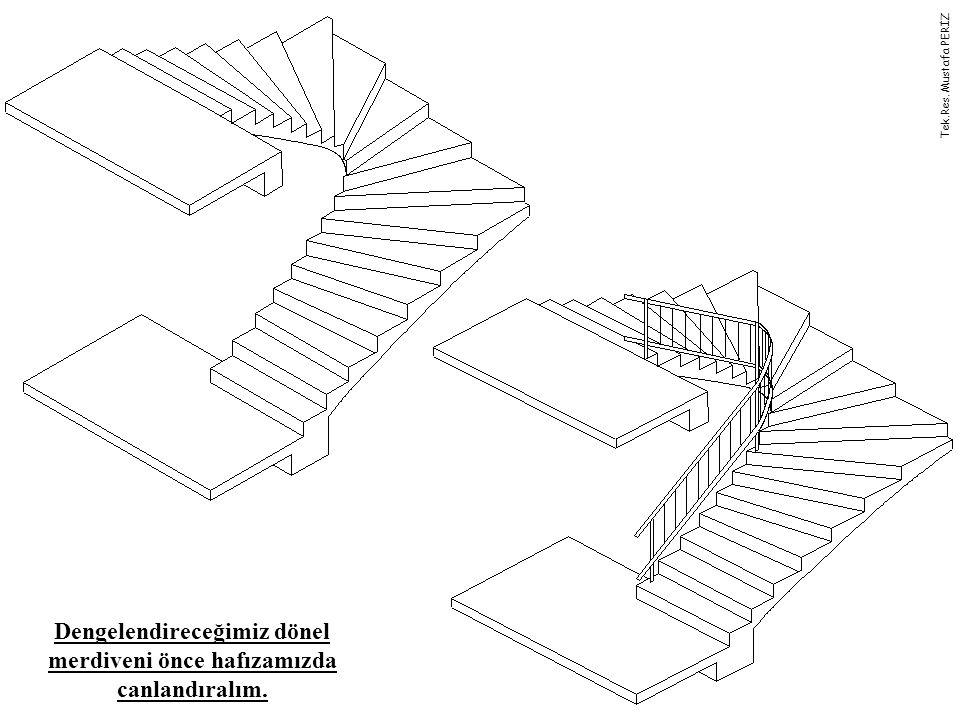 Dengelendireceğimiz dönel merdiveni önce hafızamızda canlandıralım.