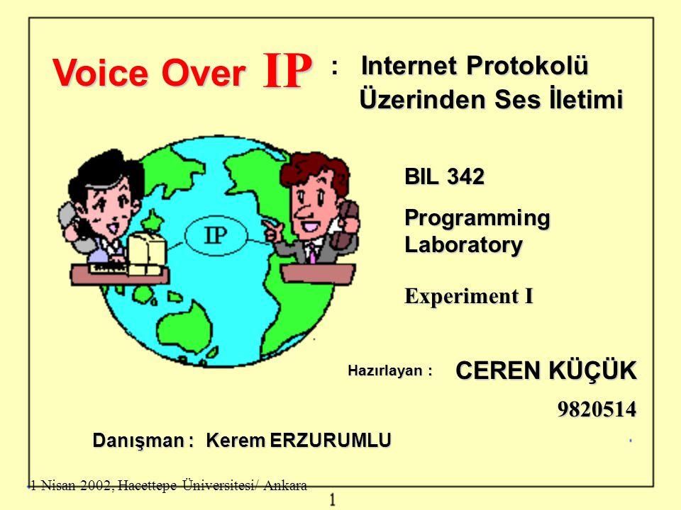 IP Voice Over : Internet Protokolü Üzerinden Ses İletimi CEREN KÜÇÜK