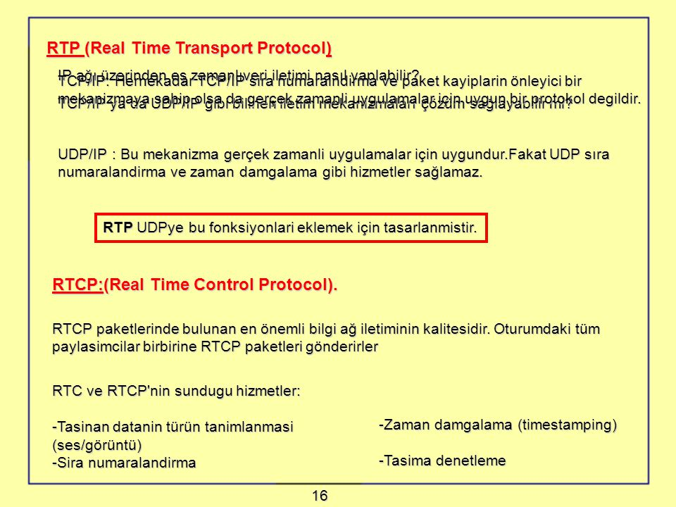 RTP (Real Time Transport Protocol)
