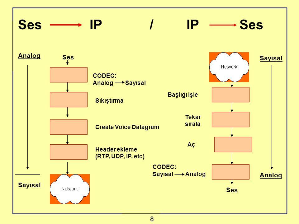 Ses IP / IP Ses Analog Ses Sayısal Analog Sayısal Ses 8 CODEC: