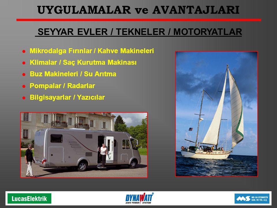 UYGULAMALAR ve AVANTAJLARI SEYYAR EVLER / TEKNELER / MOTORYATLAR