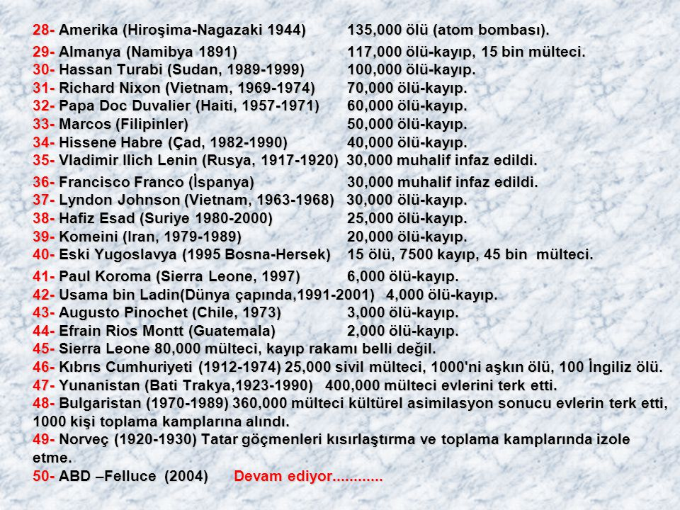 28- Amerika (Hiroşima-Nagazaki 1944) 135,000 ölü (atom bombası).