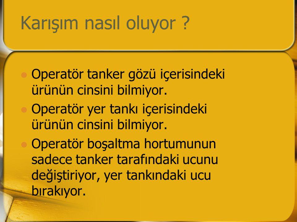 Karışım nasıl oluyor Operatör tanker gözü içerisindeki ürünün cinsini bilmiyor. Operatör yer tankı içerisindeki ürünün cinsini bilmiyor.