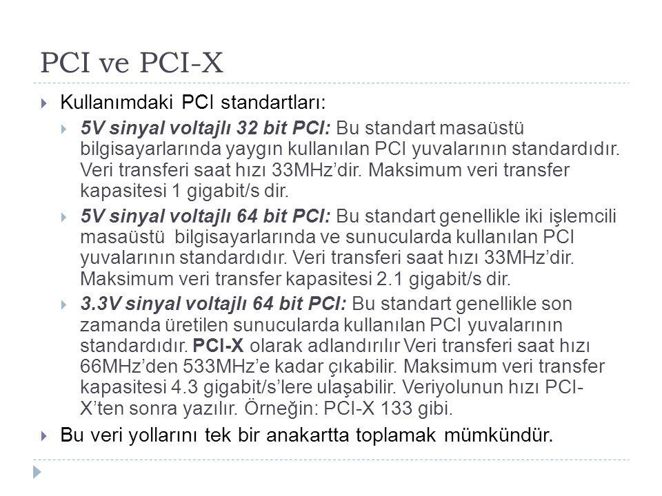 PCI ve PCI-X Kullanımdaki PCI standartları: