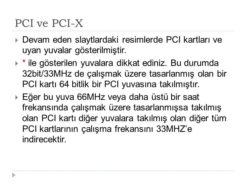 PCI ve PCI-X Devam eden slaytlardaki resimlerde PCI kartları ve uyan yuvalar gösterilmiştir.